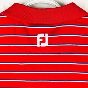 Men's Footjoy Red striped golf polo shirt stretchy